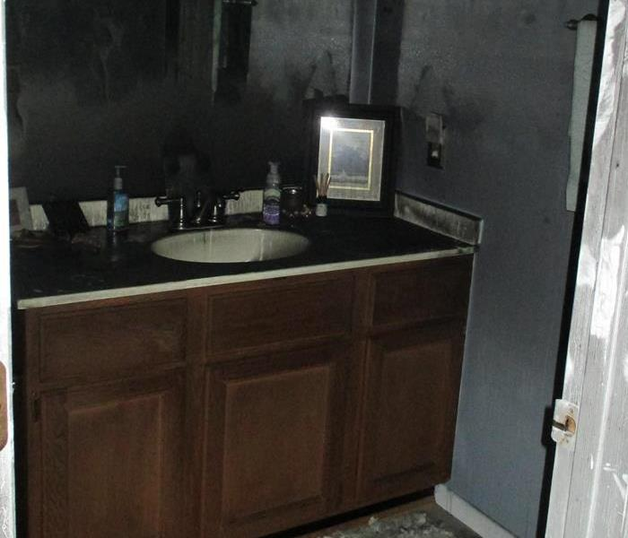 fire damage to bathroom