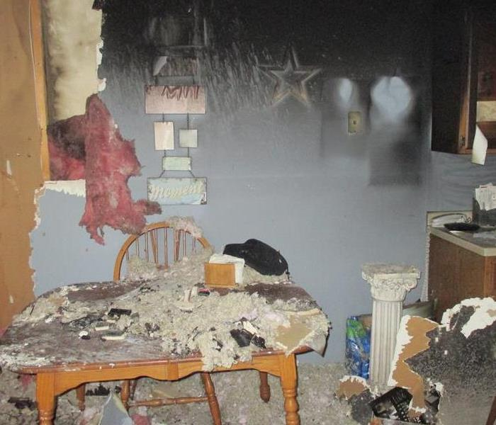 fire damage to a kitchen