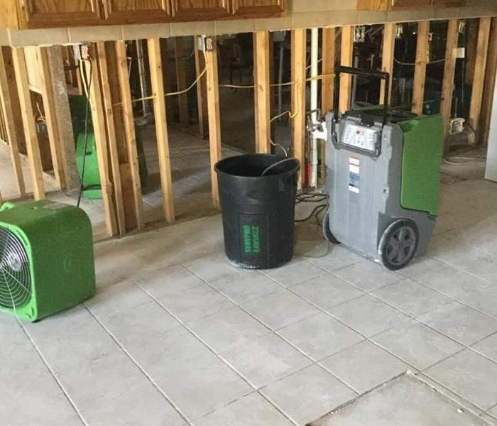 SERVPRO equipment on tile floor